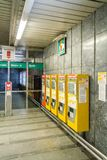 Automatic subway tickets machines in a station Royalty Free Stock Image