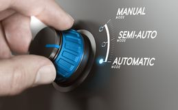 Automatic Testing or Manufacturing Processes Automation. Hand turning a knob over grey background and selecting the automatic mode. Manufacturing process royalty free illustration