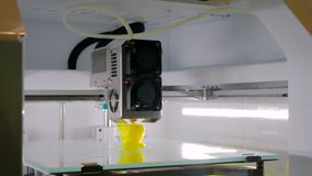 Automatic three dimensional 3D printer machine working at technology exhibition stock video