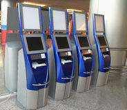 Automatic ticketing system in airport terminal Royalty Free Stock Images