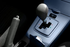 Automatic transmission. And manual brake in a modern motor vehicle Royalty Free Stock Photos