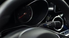 Automatic transmission in car. Car interior detail. Automatic transmission gear lever stock photo