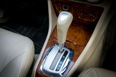 Automatic transmission gear shift. Car interior decorate wood. Automatic transmission gear shift Stock Photo