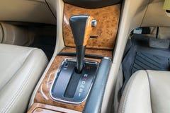 Automatic transmission gear shift. Car interior decorate wood. Automatic transmission gear shift Royalty Free Stock Photo