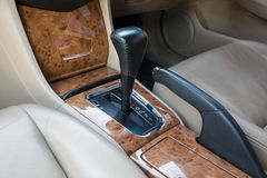 Automatic transmission gear shift. Car interior decorate wood. Automatic transmission gear shift Royalty Free Stock Image