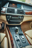 Automatic transmission lever. Detail of modern car interior, automobile gear Royalty Free Stock Image
