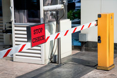 Automatic vehicle Security Barriers with security camera Stock Images