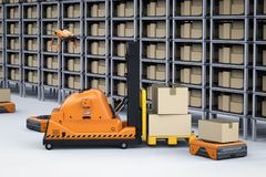 Automatic warehouse concept. With 3d rendering automation robot work in warehouse vector illustration