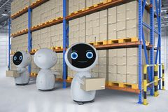 Automatic warehouse concept. With 3d rendering automation robot work in warehouse