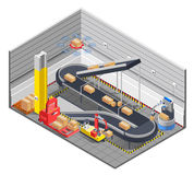 Automatic Warehouse Isometric Interior Royalty Free Stock Photography