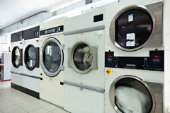 Automatic washing machines in laundrette Royalty Free Stock Photography