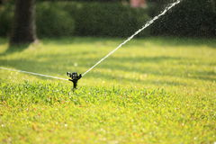 Automatic watering lawn Stock Photos