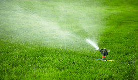 Automatic watering lawn Royalty Free Stock Image