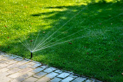 Automatic watering lawns. Gardening and landscapeing. Royalty Free Stock Photo