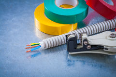 Automatic wire strippers conduct tubing cables and insulating ta Stock Photo