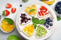 Automatic yogurt maker with fruits. On wooden background Stock Image