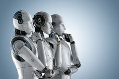 Automation analysis technology. Concept with 3d rendering group of cyborgs think
