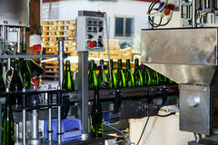 Automation bottling line for produce champagne in Alsace Royalty Free Stock Photo
