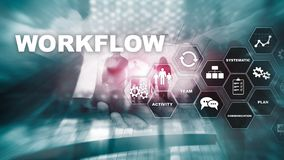 Automation of business workflows. Work process. Reliability and repeatability in technology and financial processes. Automation of business workflows. Work stock photo