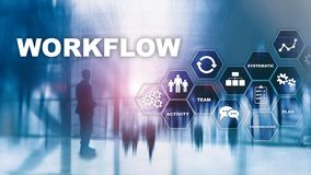 Automation of business workflows. Work process. Reliability and repeatability in technology and financial processes. Automation of business workflows. Work stock illustration
