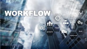 Automation of business workflows. Work process. Reliability and repeatability in technology and financial processes. Automation of business workflows. Work royalty free stock images