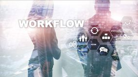 Automation of business workflows. Work process. Reliability and repeatability in technology and financial processes. Automation of business workflows. Work stock image