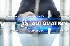 Automation concept as innovation, improving productivity in technology processes. Automation concept as an innovation, improving productivity, reliability and stock images