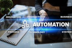 Automation concept as an innovation, improving productivity in technology and business processes. Automation concept as an innovation, improving productivity Stock Image
