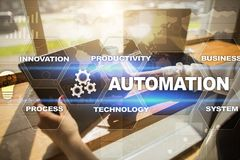 Automation concept as an innovation, improving productivity in technology and business processes. Automation concept as an innovation, improving productivity Stock Photos