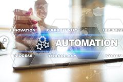 Automation concept as an innovation, improving productivity in technology and business processes. Automation concept as an innovation, improving productivity Royalty Free Stock Image
