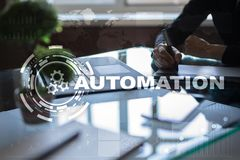 Automation concept as an innovation, improving productivity in technology and business processes. Automation concept as an innovation, improving productivity Royalty Free Stock Photos
