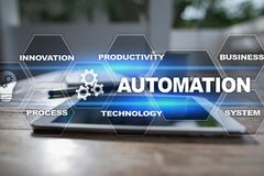 Automation concept as an innovation, improving productivity in technology and business processes. Automation concept as an innovation, improving productivity Stock Photo