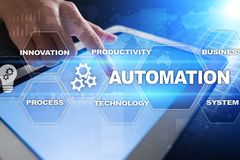 Automation concept as an innovation, improving productivity, reliability in technology and business processes. Automation concept as an innovation, improving Royalty Free Stock Photo