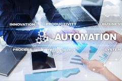 Automation concept as an innovation, improving productivity, reliability in technology and business processes. Automation concept as an innovation, improving royalty free stock photography