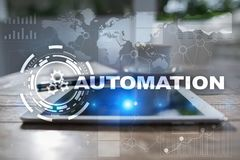 Automation concept as an innovation, improving productivity, reliability in technology and business processes. Automation concept as an innovation, improving Royalty Free Stock Photos
