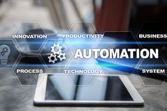 Automation concept as an innovation, improving productivity, reliability in technology and business processes. Automation concept as an innovation, improving stock image