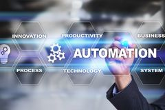 Automation concept as an innovation, improving productivity, reliability in technology and business processes. Automation concept as an innovation, improving royalty free stock images