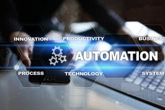Automation concept as an innovation, improving productivity in technology and business processes. Automation concept as an innovation, improving productivity Royalty Free Stock Photography