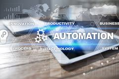 Automation concept as an innovation, improving productivity in technology and business processes. Automation concept as an innovation, improving productivity stock photography