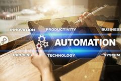 Automation concept as an innovation, improving productivity in technology and business processes. Automation concept as an innovation, improving productivity stock images