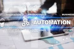 Automation concept as an innovation, improving productivity in technology and business processes. Automation concept as an innovation, improving productivity Royalty Free Stock Images