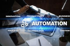 Automation concept as innovation, improving productivity in technology processes. Automation concept as an innovation, improving productivity, reliability and stock photo