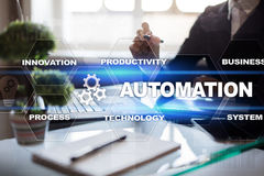 Automation concept as innovation, improving productivity in technology processes. Automation concept as an innovation, improving productivity, reliability and royalty free stock photos