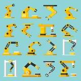 Automation Conveyor Orthogonal Flat Icons Set royalty free illustration
