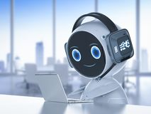 Automation customer service. Concept with 3d rendering humanoid robot working with headset and notebook