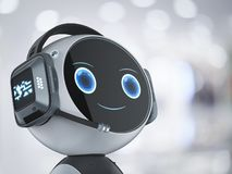 Automation customer service. Concept with 3d rendering robot with headset
