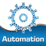 Automation Dotted Gear Blue Square vector illustration
