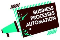 Automation för processar för affär för ordhandstiltext Affärsidé för att utfört ska uppnå digital omformningsmegafonloudsp Royaltyfria Foton
