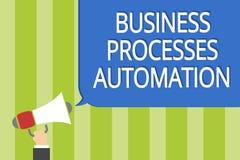 Automation för processar för affär för ordhandstiltext Affärsidé för att utfört ska uppnå digitala den mega omformningsmannen som Arkivfoton