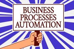 Automation för processar för affär för textteckenvisning Det begreppsmässiga fotoet utförde för att uppnå den digitala omformning Royaltyfri Fotografi